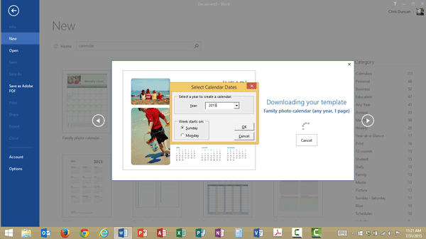 Confirmation dialog box to add a calendar template