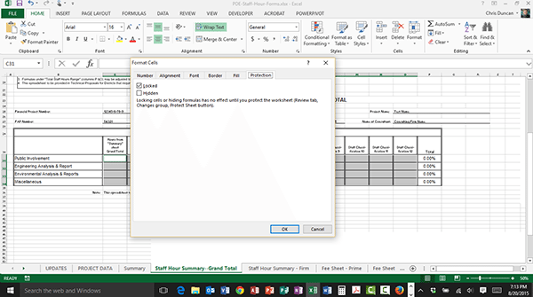 Password Protecting Parts of an Excel Document