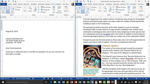Splitting the Screen in Word