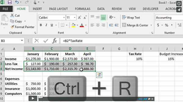 Fill Right and Fill Down with Excel