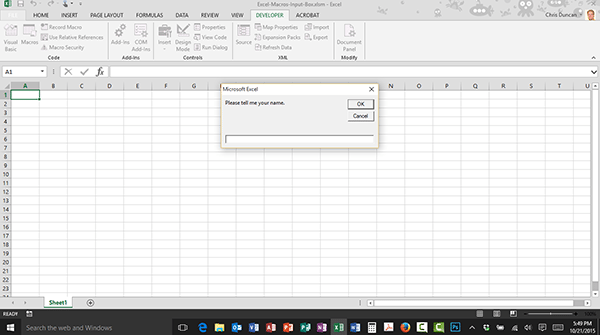 The VBA Input Box in an Excel Macro
