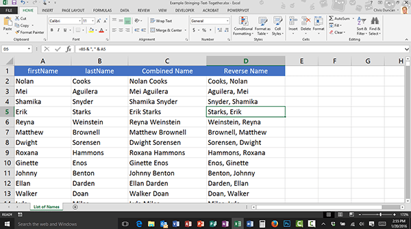 Stringing Text Together in Microsoft Excel