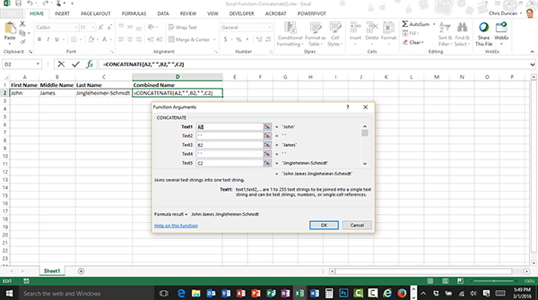 Learn how to use the concatenate() function in Excel
