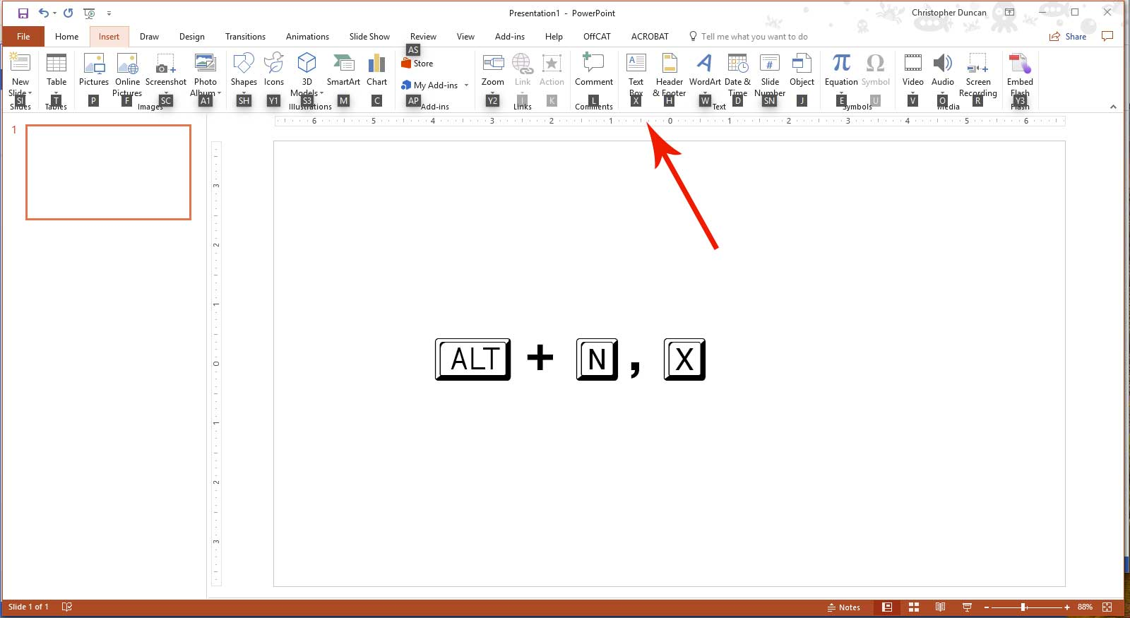 New Text Box Shortcut works in PowerPoint, Word and Excel
