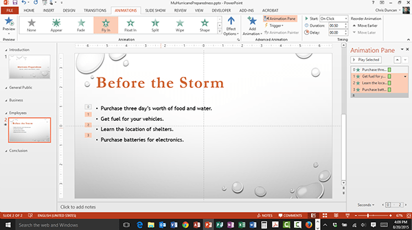 Animating a Bullet List in Microsoft PowerPoint