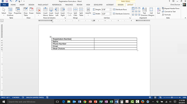 Creating a Simple Table in Word 2013