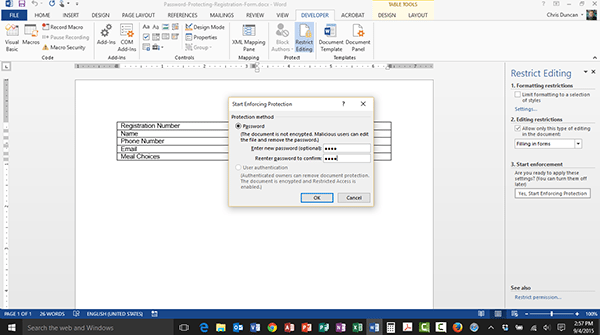 Password Protecting a Form in Word 2013