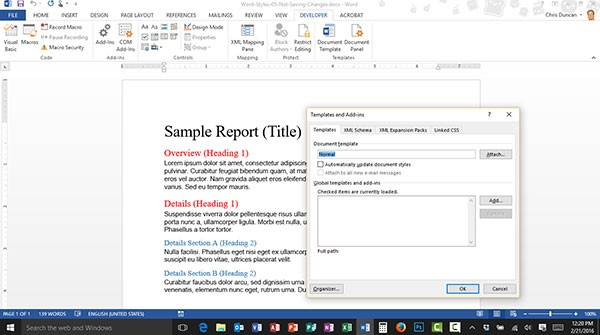 Microsoft Word Not Saving Changes Made to Styles